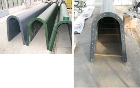 Foto 3 en 4: De viskweekbakken bestaan uit polyesterprofielen die vastgeklonken werden