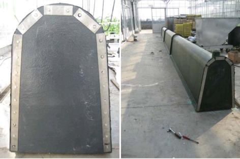 Foto 5 en 6: De viskweekbakken bestaan uit polyesterprofielen die vastgeklonken werden