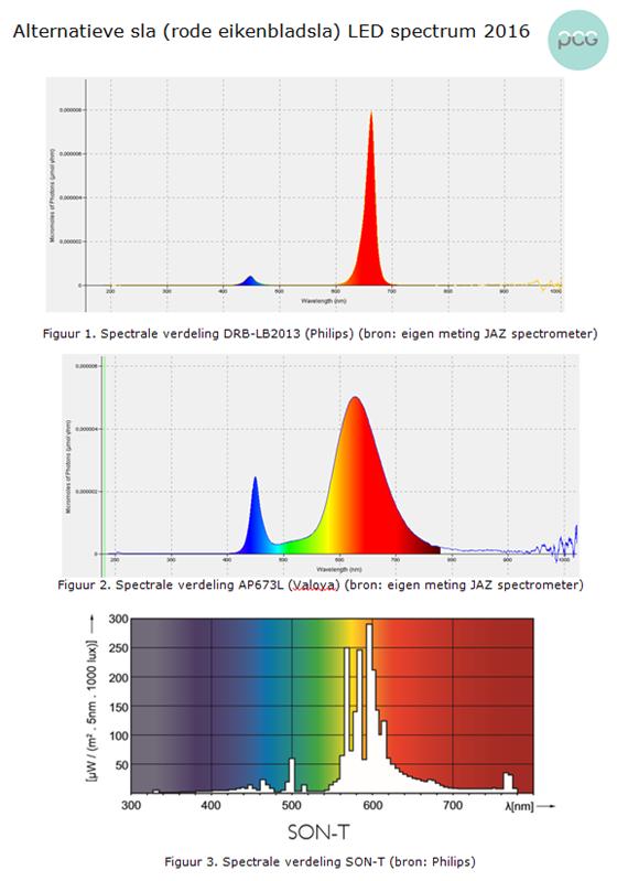 Figuren: Alternatieve sla (rode eikenbladsla) LED spectrum 2016