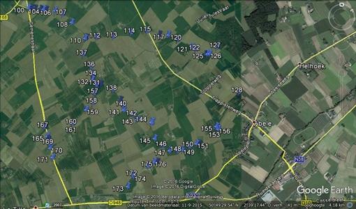 Figuur 2 Illustratie van een detailmeting voor het MAP-meetpunt 990035 in Watou (West-Vlaanderen)