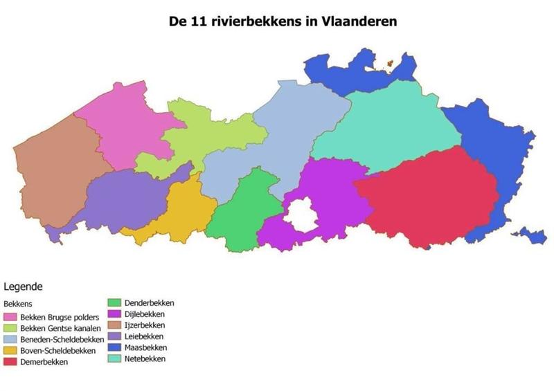 Figuur 2 De elf rivierbekkens in Vlaanderen (bron VMM)