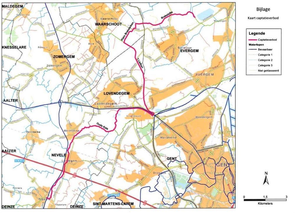 Het innamegebied Kluizen, de Oude Kale vanaf de hevel in Nevele tot het Duivelputgemaal in Vinderhoute, en 't Liefken, Kleine Brakeleiken en Brakeleiken tot het innamepunt in Kluizen.
