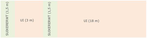 Figuur 1: Proefplan intercropping ui - suikererwt