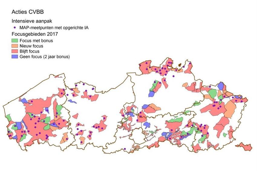 Figuur 1 Kaart van de IA gebieden in 2016 gesitueerd in de focusgebieden 2017